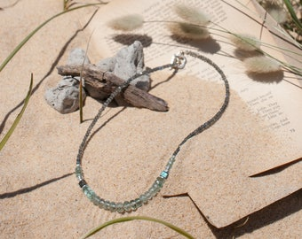 Aquamarine & Labradorite Gemstone Necklace - Gemstone Jewelry