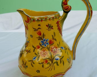 vintage tuscan style yellow ewer or pitcher