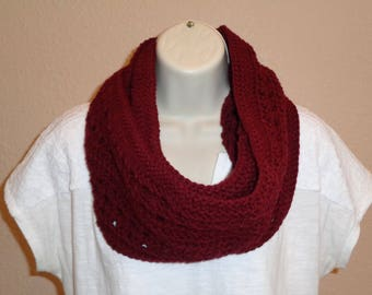 Maroon Lacy Infinity Scarf