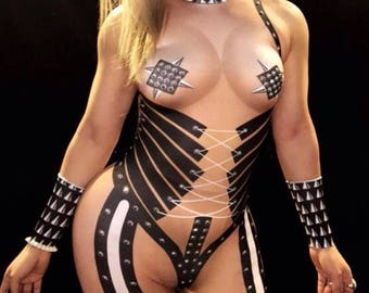 Cosplay dominatrix Rhinestone Bodysuit Leotard