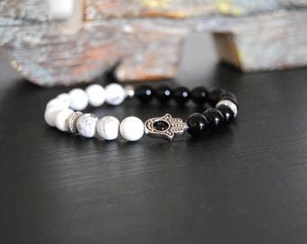 Namaste Bracelet, Gemstone stretch bracelet, black agate and howlite