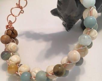 Bone and Glass Bracelet wire braided!