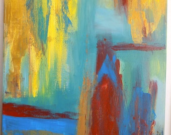 Abstract painting blue sea