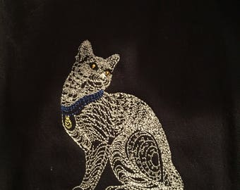 Embroidered Cat on Black cotton flannel lined shirt.