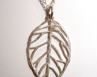 Delicate Sterling Silver Leaf Pendant Necklace on Chain -