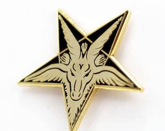 Baphomet Occult Satanic Enamel Pin – Black & Gold Satan Pin