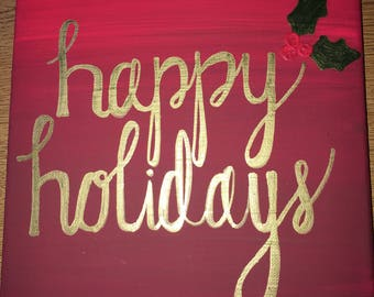 Happy Holidays Canvas (Customizable)