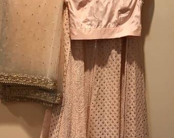 Pale pink chikankari lehenga blouse set with dupaata .