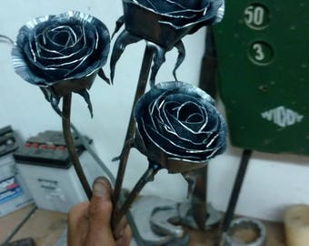 Hand forged metal rose