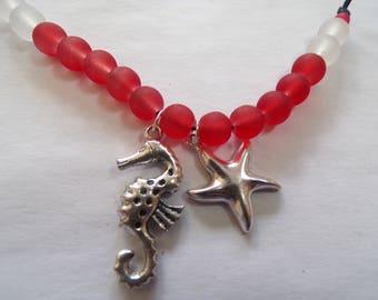 Seahorse and starfish choker