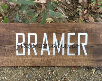 Personalized Cutsom Rustic Wood Family Name Sign Home Decor