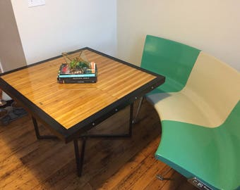 Handmade Coffee Table From Reclaimed Bowling Lane