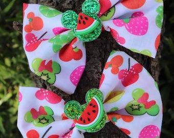 Mickey fruit fabric hairbow /alligator hair clip
