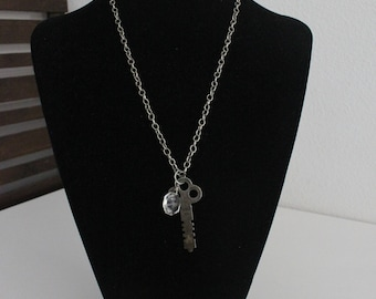 Antique Skeleton Key and Chandelier Crystal Necklace on Silver Chain