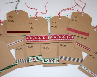 Christmas Gift Tags, Holiday Gift Tags, Red & Green Accented Kraft Gift Tags, Set of 12 Gift Tags, Christmas Tags