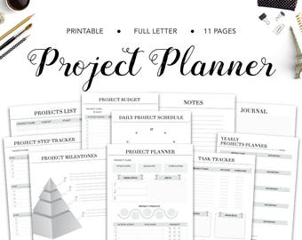 Project Planner, Project Tracker, Project Planner Printable, PDF Printable, Productivity Planner, To Do list, Project Management, Bundle