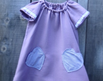 Hand made Upcycled Girls dress made from a shower curtain, Lilac dress, age 5.