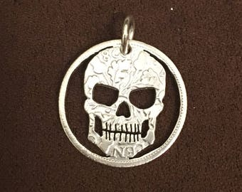 Silver Sixpence Skull Pendant