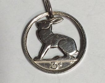 Irish Threepence Hare Pendant