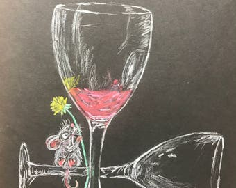 Scruffy Mouse Sitting on a Tipped Over Wine Glass