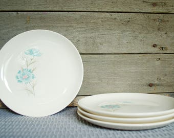 """Taylor Smith Taylor Ever Yours Boutonniere 7"""" Bread and Butter Plates, Set of 4, Light Blue Floral Pattern, Vintage, Mid Century,  Kitchen"""