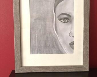 Original pencil sketch mystery, black art 11*14 frame