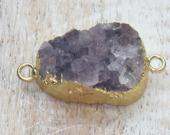 Gold Electroplated Purple Druzy Connector, Druzy Link, Purple Druzy Link