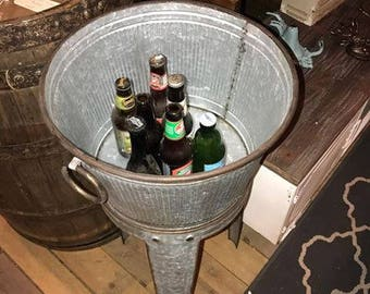 Vintage Style Ice Bucket with a Great Dolly Tub Design and Stand Indoor & Outdoor Wine, Beer or Champagne Cooler Chunky Ring Handles