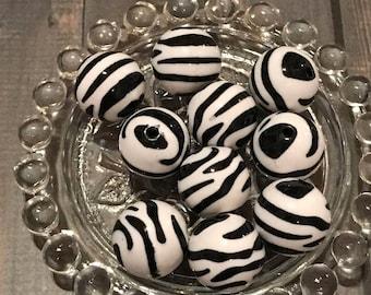 Zebra Bubblegum Bead, 20mm Zebra Bead,Rhinestone Beads