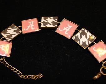 Alabama Crismon Tide Roll Tide Resin Bracelet Houndstooth Alabama A Football Bracelet Free Shipping