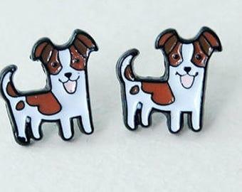 Terrier enamel pierced stud earrings.
