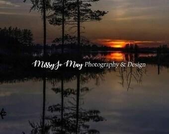 Sunset Lake Digital Backdrop
