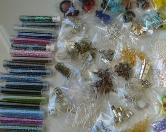 WHOLESALE LOT MIX glass beads and findings 1000g - (1 kg).
