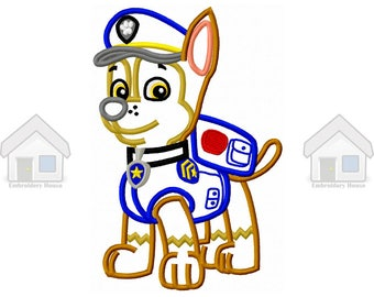 "Blue Military Puppy Applique Design 3 sizes ""Instant download"""