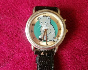 Rare Vintage Cat watch! Kitty Kat collectible watch. Vintage limited release watch with collectible tin. Very Rare!