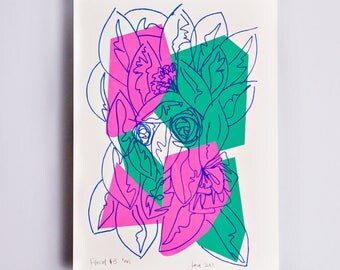 Floral #3 Limited Edition Screen Print, Line Drawing, Hand Printed, Fashion Illustration, Fashion Wall Art, Floral Print, Floral Art, Pink