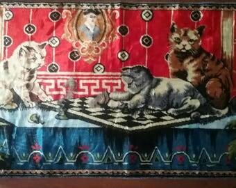 Vtg Cat Tapestry/Velvet Tapestry/ Swan Velveteen Tapestry
