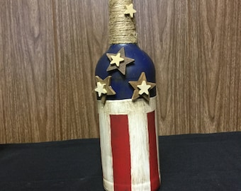 USA red white and blue wine bottle vase