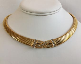 Christian Dior German Gold Tone Graduated Omega Chain Two Row Baguette Rhinestones Pave Criss-Cross Center Vintage Choker