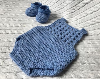 Baby Romper and Booties Set / Outfit