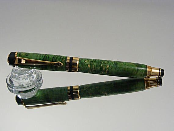 Classic Elite Fountain Pen in 24K Gold and Green Box Elder