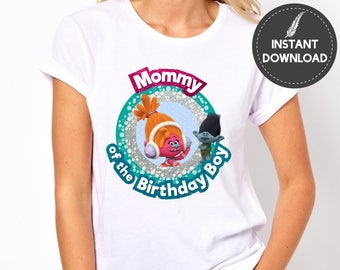 Instant Download - Trolls Mommy of the Birthday Boy DJ Suki Branch Mom Mother Tshirt Tee Shirt Iron On Transfer Printable DIY - Digital File