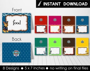 Instant Download - Paw Patrol Food Tent Labels Food Indicator Birthday Party Baby Shower Skye Everest Chase Printable DIY - Digital File