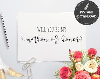 Instant Download - Will You Be My Matron Of Honor Invitation Invite Proposal Card Elegant Script Wedding DIY Printable - Digital File #ES01