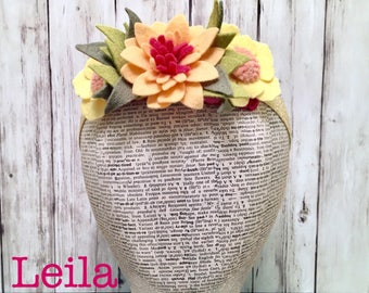 Leila Design: Hawaiian Flower Crown l Toddler Flower Headband l Newborn Flower Headband l Adult Floral Crown l Felt Flower Crown l Child