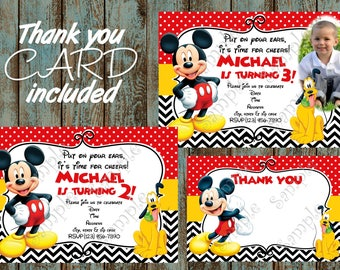 Mickey Mouse Invitation, Mickey Mouse Party, Mickey Mouse Birthday, Mickey Mouse Printable Invitation, Mickey Mouse Thank you Card