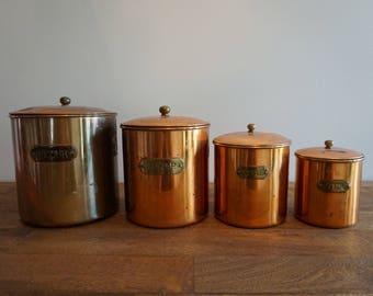 Set of 4 Vintage Copper Caniters