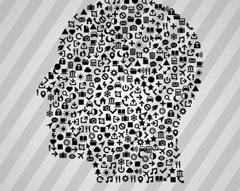 Head Icons Silhouette - Svg Dxf Eps Silhouette Rld Rdworks Pdf Png Ai Files Digital Cut Vector File Svg File Cricut Laser Cut