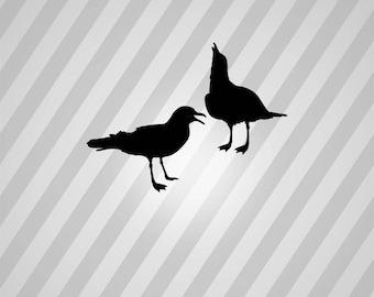 seagulls Silhouette - Svg Dxf Eps Silhouette Rld RDWorks Pdf Png AI Files Digital Cut Vector File Svg File Cricut Laser Cut