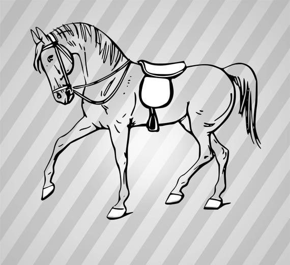 Walking Horse Outline: Svg Dxf Eps Silhouette Rld